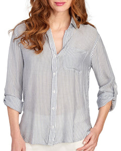 Narrow Blue Grey Stripe Elisa Longsleeve Button Down - Ladies