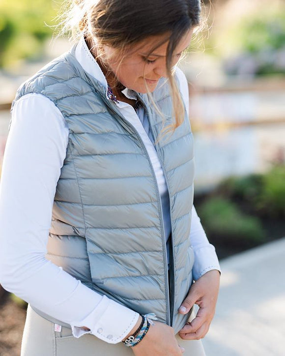 Amelia Collarless Down Vest Fog