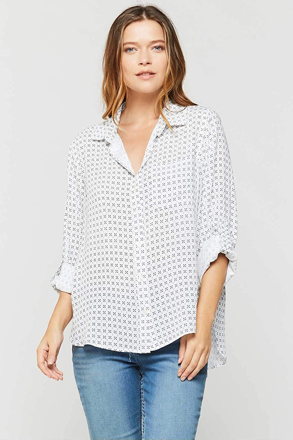 Velvet Heart Elisa Longsleeve Button Down - Black/White Cross - Ladies