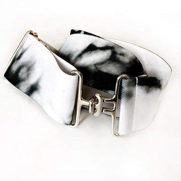 ACE Equestrian Tie Dye Elastic Surcingle Belt Black and White