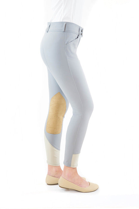 Gulf Low Rise Front Zip Breeches - Dove Grey Contrast