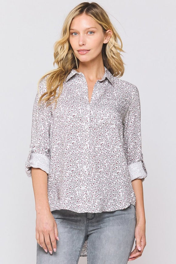 Elisa Mini Red Floral Button Down - Ladies