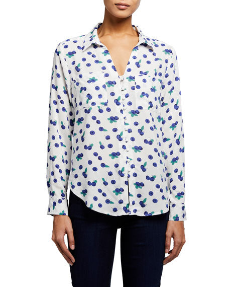 Eleni Longsleeve Button Down - Blueberry - Ladies
