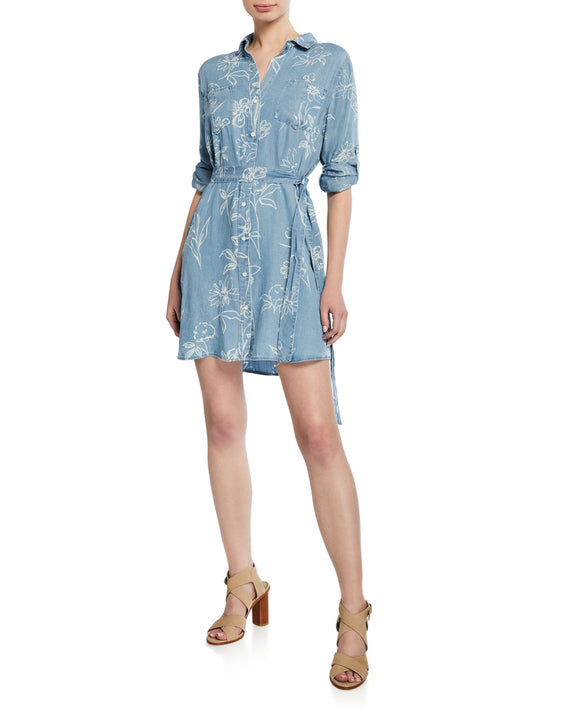 Anita Roll Sleeve Button Down Shirt Dress - Ladies