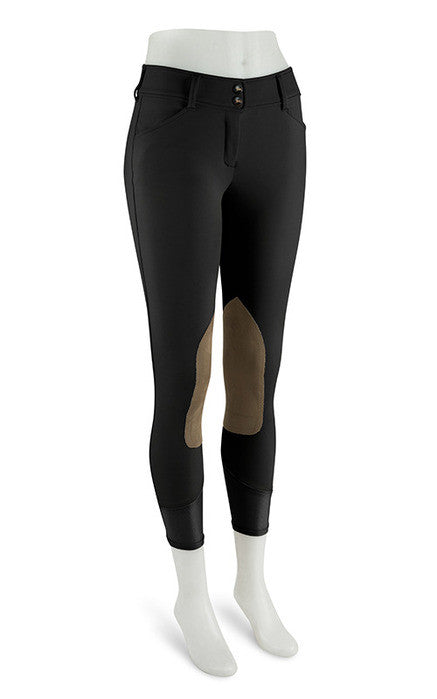 Gulf Low Rise Front Zip Breeches - Black w/Tan