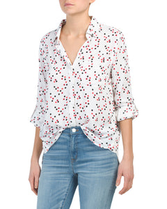 Elisa Longsleeve Button Down - Red/Black Dots - Ladies