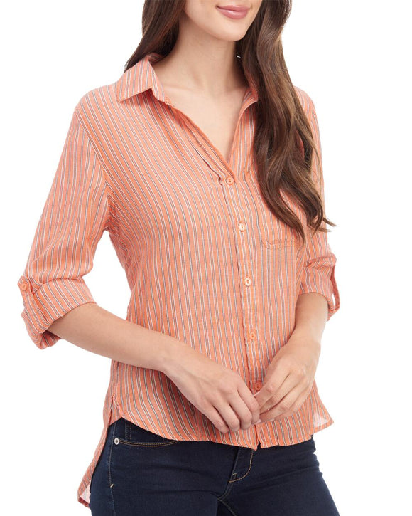 Fire Stripe Button Down - Ladies