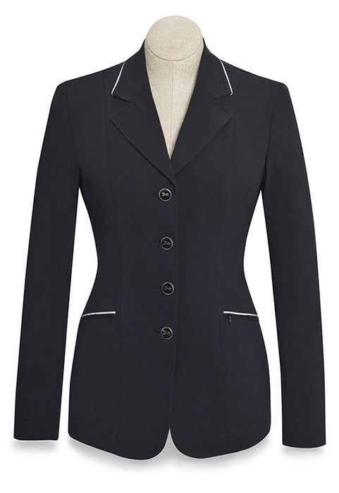 Galway Show Coat - Black/Silver Piping Ladies