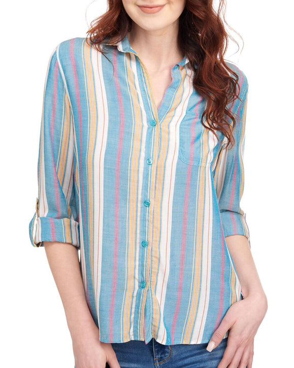 Blue Yellow Multi Stripe Elisa Longsleeve Button Down - Ladies