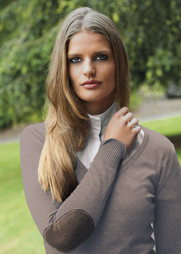 Milan V-Neck Sweater Camel Beige w/Dark Brown Elbow Patch