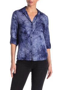 Elisa Longsleeve Button Down - Navy Tie Dye
