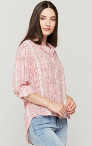 Elisa Red Dot Stripe Button Down - Ladies