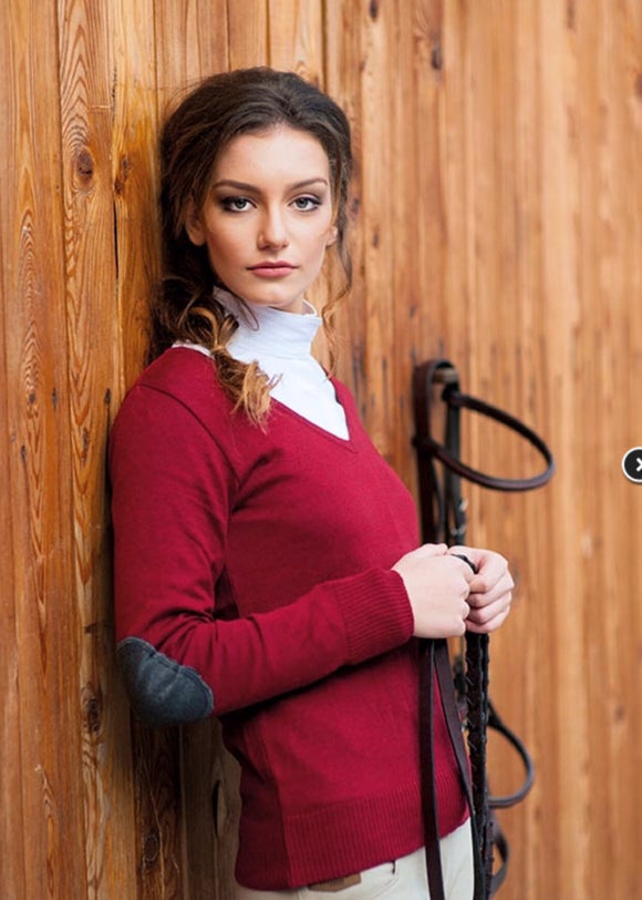 Milan V-Neck Sweater Ruby Red w/Dark Grey Patch