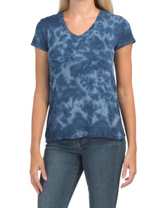 Navy Blue Tie Dye V-Neck T-Shirt - Ladies