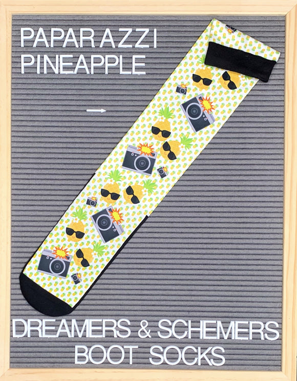 Dreamers & Schemers Paparazzi Pineapple Boot Socks