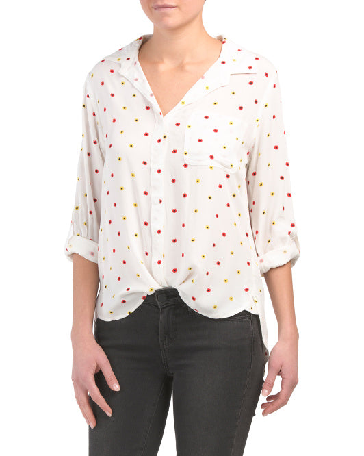 Red & Yellow Flowers Longsleeve Button Down - Ladies
