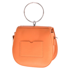 orange studded bag with hoop edgability back view