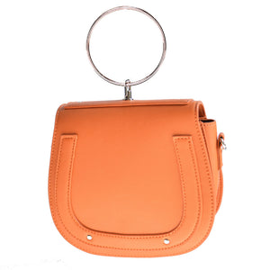 orange studded bag with hoop edgability