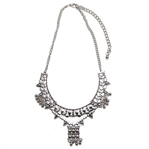 layered boho white silver necklace long edgability