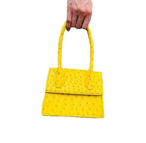 ostrich leather yellow bag edgy fashion edgability front view