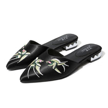 embroidered flats black shoes edgability angle view
