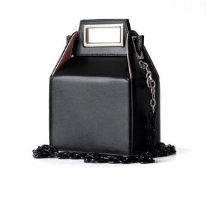 black bag box bag sling bag with chain edgability full view