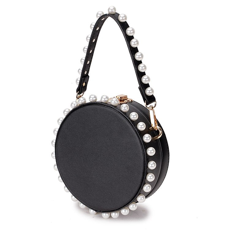 pearl studded black bag box round bag edgability