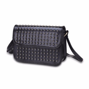 silver micro studded black shoulder bag edgability angle view