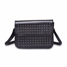 silver micro studded black shoulder bag edgability front view