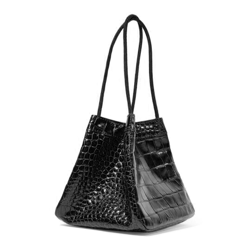 croc skin black bucket bag edgy fashion edgability