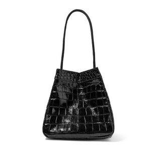 croc skin black bucket bag edgy fashion edgability side view