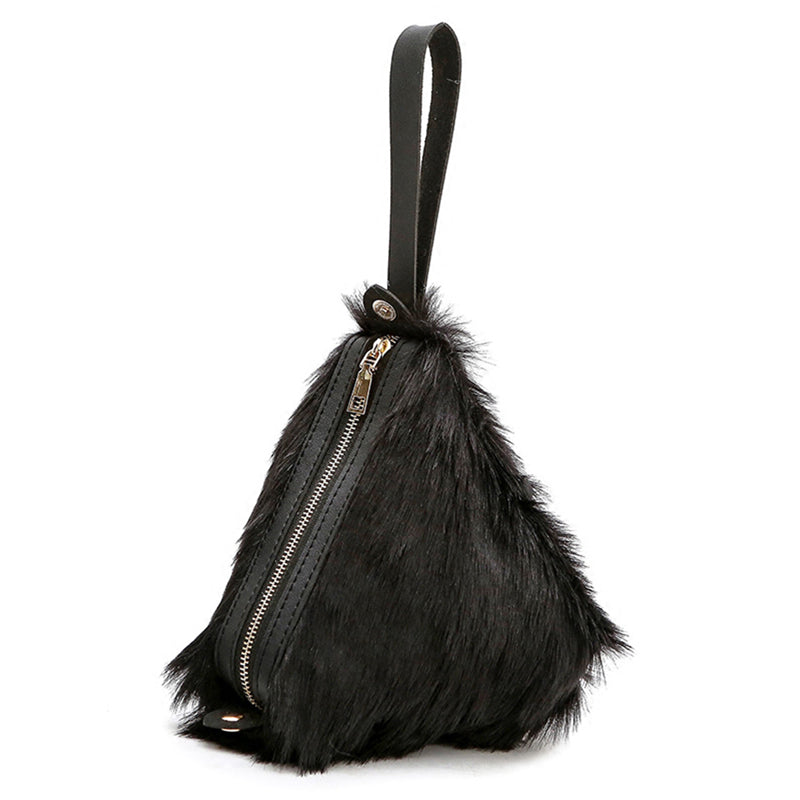 fur bag black bag triangle bag edgability