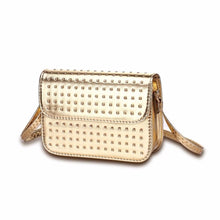 silver studded gold metallic bag edgability angle view