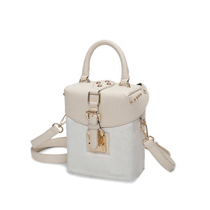 white bag box bag fur bag edgability angle view