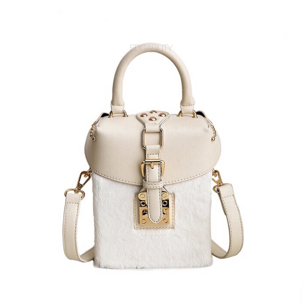 white bag box bag fur bag edgability