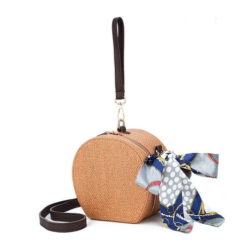 rattan bag box bag round bag wristlet with scarf edgability