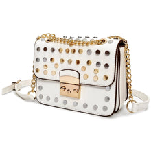gold silver studded white bag angle view edgability