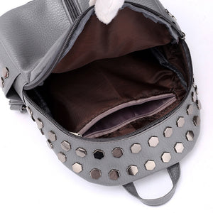 silver studded grey mini backpack edgability inside view