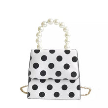 polka dots bag black and white bag pearls bag edgability