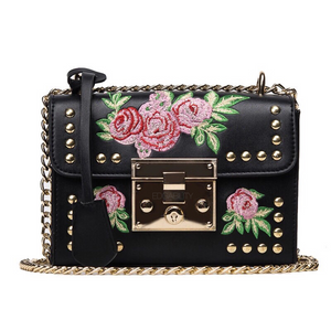 embroidered studded bag in black edgability