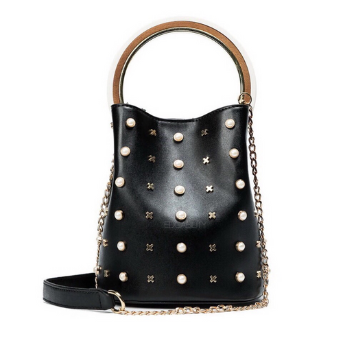studded bag bucket bag black bag edgability
