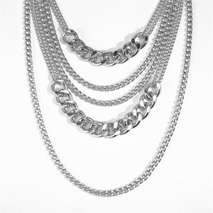 silver chains layered statement necklace edgability detail view