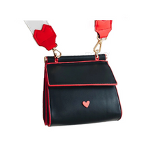 back view of red heart on black shoulder bag edgability