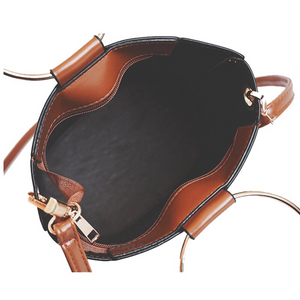 brown bucket bag with ring handle edgability inside view