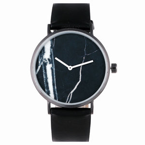black marble print dial strap watch front view edgability