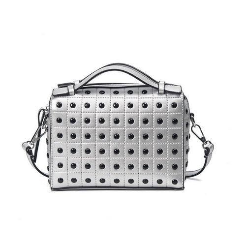 grey silver studded bag edgability