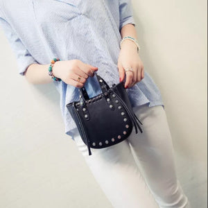 open black bucket bag silver studs model view edgability