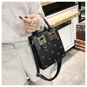heart studded bag black bag edgability model view
