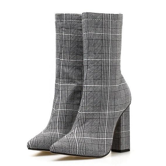 checked boots tweed boots heeled boots edgability
