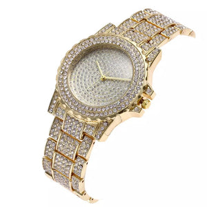 crystals studded diamonte gold watch edgability top view